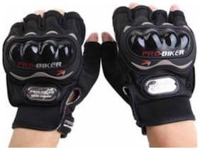 Probiker Black Half Cut Finger Gloves