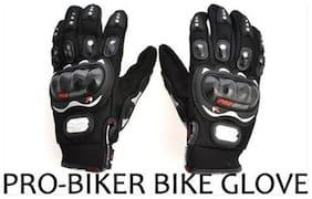 Pro-Biker Black Motorcycle Riding Gloves