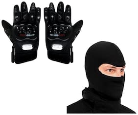 Probiker Combo Of Black Gloves and Balaclava (Size XL)