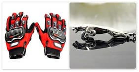 Probiker - Combo Of Probiker Riding Full Gloves (1 Pair) - Red Colour (With Jaguar Key Chain)