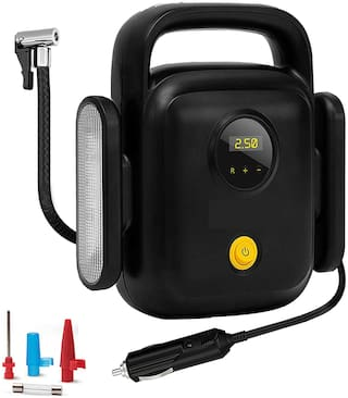 Probus Heavy Duty 150 Psi 4 Cylinders Compact Digital Tyre Inflator Smart Auto Off Air Compressor (Black)