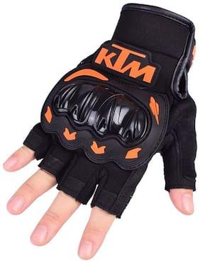 Prokick KTM Leather Half Finger Motorcycle Gloves, Black - XL