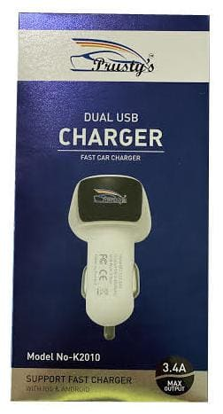 Prusty's 3.4 AMP High Speed Dual Port Car Charger With Type C Cable