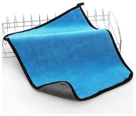Prusty's Dual Fleece Premium Quality Microfiber Cloth For Car(Blue & Grey)