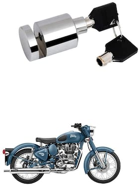 Qiisx Heavy Duty Disc Brake Lock Anti Theft Stainless Steel 7mm Pin Wheel Locking Security Lock for Bike and Motorcycle (Chrome) Royal Enfield Bullet 500
