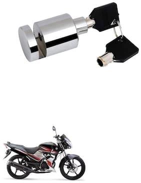 Qiisx Heavy Duty Disc Brake Lock Anti Theft Stainless Steel 7mm Pin Wheel Locking Security Lock for Bike and Motorcycle (Chrome) Yamaha Gladiator