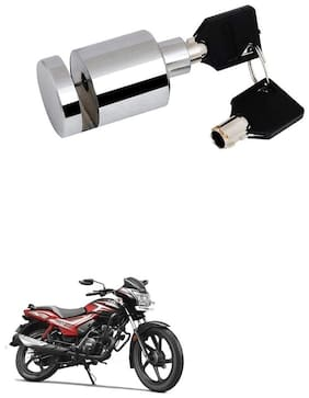 Qiisx Heavy Duty Disc Brake Lock Anti Theft Stainless Steel 7mm Pin Wheel Locking Security Lock for Bike and Motorcycle (Chrome) TVS Star