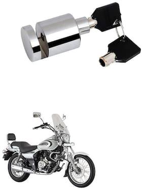 Qiisx Heavy Duty Disc Brake Lock Anti Theft Stainless Steel 7mm Pin Wheel Locking Security Lock for Bike and Motorcycle (Chrome) Bajaj Avenger 220 Cruise