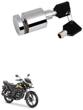 Qiisx Heavy Duty Disc Brake Lock Anti Theft Stainless Steel 7mm Pin Wheel Locking Security Lock for Bike and Motorcycle (Chrome) Honda CB Shine SP