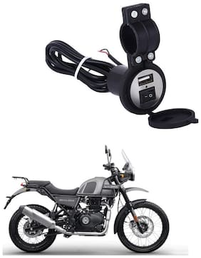 QiisX USB Mobile Charger Fast Charging Output : 5V-2.1A Waterproof Sillicon Cover with on/Off Switch For Royal Enfield Himalayan