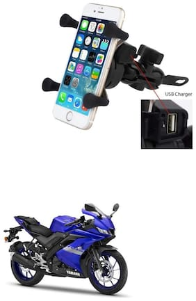 QiisX X-Grip Mobile Phone Holder with USB Charger Bike Mobile Holder For Yamaha YZF