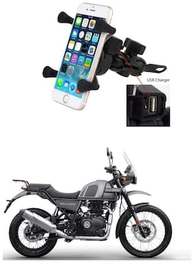 QiisX X-Grip Mobile Phone Holder with USB Charger Bike Mobile Holder For Royal Enfield Himalayan
