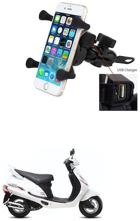 QiisX X-Grip Mobile Phone Holder with USB Charger Bike Mobile Holder For Mahindra Duro