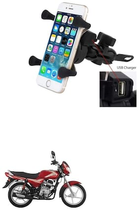 QiisX X-Grip Mobile Phone Holder with USB Charger Bike Mobile Holder For Bajaj CT 100