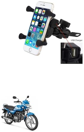 QiisX X-Grip Mobile Phone Holder with USB Charger Bike Mobile Holder For Hero HF Deluxe