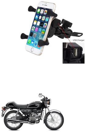 QiisX X-Grip Mobile Phone Holder with USB Charger Bike Mobile Holder For Hero Splendor Pro