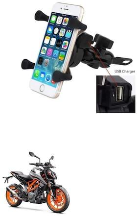 QiisX X-Grip Mobile Phone Holder with USB Charger Bike Mobile Holder For KTM Duke 200