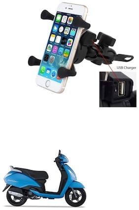 QiisX X-Grip Mobile Phone Holder with USB Charger Bike Mobile Holder For TVS Jupiter