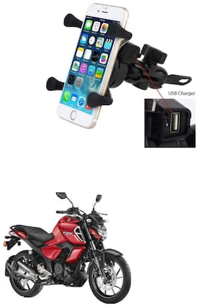 QiisX X-Grip Mobile Phone Holder with USB Charger Bike Mobile Holder For Yamaha FZ-S