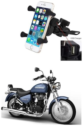 QiisX X-Grip Mobile Phone Holder with USB Charger Bike Mobile Holder For Royal Enfield Thunderbird 500