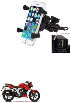 QiisX X-Grip Mobile Phone Holder with USB Charger Bike Mobile Holder For TVS Apache RTR 160 4V