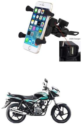 QiisX X-Grip Mobile Phone Holder with USB Charger Bike Mobile Holder For Bajaj Discover 100 DTS-i