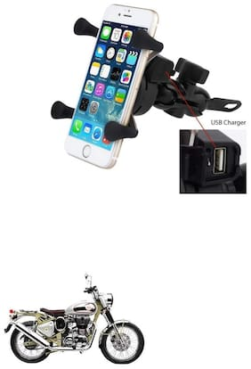QiisX X-Grip Mobile Phone Holder with USB Charger Bike Mobile Holder For Royal Enfield Bullet Trials 500
