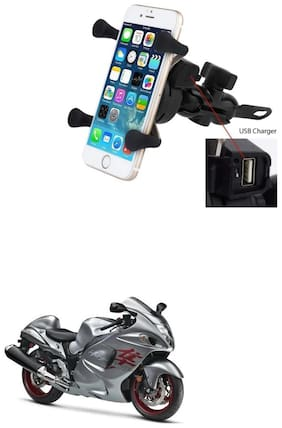 QiisX X-Grip Mobile Phone Holder with USB Charger Bike Mobile Holder For Suzuki Hayabusa