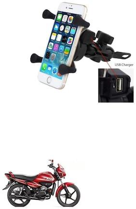QiisX X-Grip Mobile Phone Holder with USB Charger Bike Mobile Holder For Hero Splendor NXG