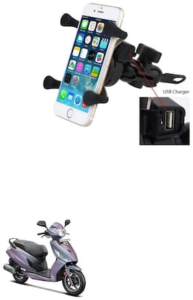 QiisX X-Grip Mobile Phone Holder with USB Charger Bike Mobile Holder For Hero Glamour i3s