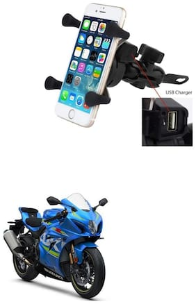 QiisX X-Grip Mobile Phone Holder with USB Charger Bike Mobile Holder For Suzuki GSX