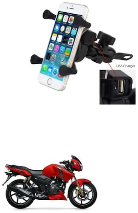 QiisX X-Grip Mobile Phone Holder with USB Charger Bike Mobile Holder For TVS Apache RTR 160
