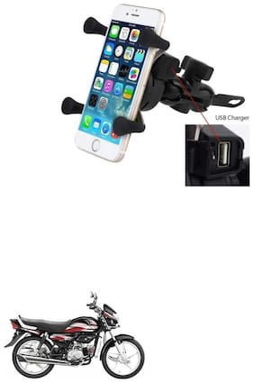 QiisX X-Grip Mobile Phone Holder with USB Charger Bike Mobile Holder For Hero CD deluxe
