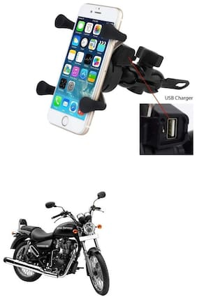 QiisX X-Grip Mobile Phone Holder with USB Charger Bike Mobile Holder For Royal Enfield Thunderbird 350