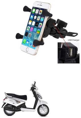 QiisX X-Grip Mobile Phone Holder with USB Charger Bike Mobile Holder For Mahindra Duro DZ