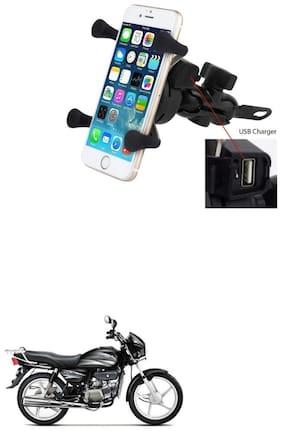 QiisX X-Grip Mobile Phone Holder with USB Charger Bike Mobile Holder For Hero Splendor