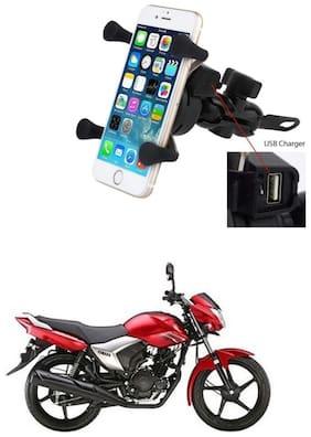 QiisX X-Grip Mobile Phone Holder with USB Charger Bike Mobile Holder For Yamaha Saluto