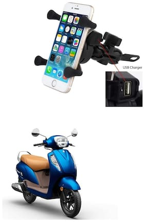 QiisX X-Grip Mobile Phone Holder with USB Charger Bike Mobile Holder For Suzuki Access