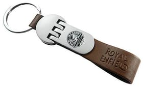 Rakrish Royal Enfield Keychain Brown Leather Hook & Loop Key Chain