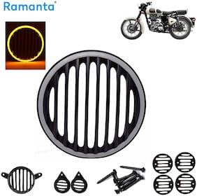 Ramanta 1 Set Yellow Led Plastic Grill for Roy Enf Classic 350 & Classic 500 Bike Bike Headlight Grill (Black)