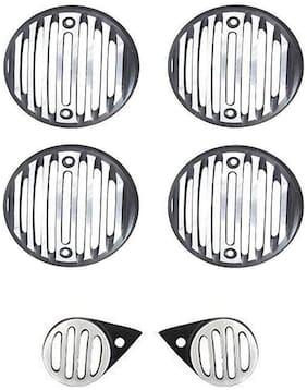 Ramanta 2 rear indicators;2 front indicators;2 parking lights Grills for Electra;Standard & Classic Bullets Bike Headlight Grill (Silver;Black)