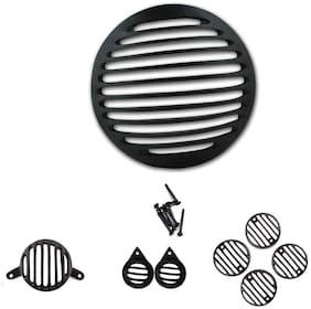 Ramanta Complete Metal Bullet Set Set of 8 Bike Headlight Grill (Black)
