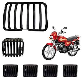 Ramanta Complete Plastic Grill Set of Headlight;Indicator & Taillight(Black;Set of 6) for Hero Splendor Bikes