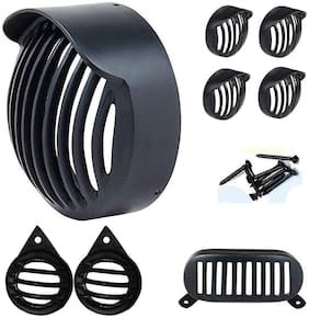 Ramanta Headlight;Tail Light;Parking Light;Indicator Complete Grill Set Bike Headlight Grill (Black)