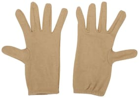 Ramanta Men's Women's Beige Cotton Riding Full Hand Gloves (Free Size, 1 Pair)
