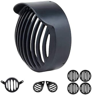 Ramanta Plastic Cap Complete Grill Set for Royal Enfield Classic 350/500 - Set of 8 Bike Headlight Grill (Black)