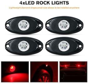 RED LED Rock Light Wireless Music Offroad Truck UTV Single Color 4Pods Underbody