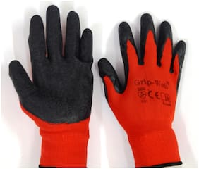 Red Nylon shell with Black Crinkle latex Palm coated Gloves