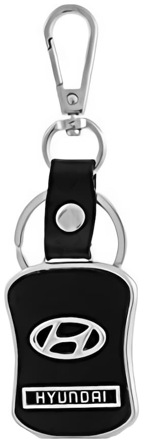 Relicon Hook Locking Black Leather Silver Metal Keyring for Car Bike Men Women (R-39) Compatible with Hyundai Keychain