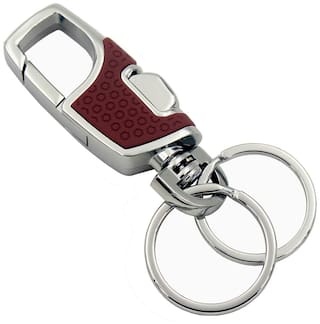Relicon Omuda Button Operated Hook Locking Two Rings (R-8) Brown Silver Metal Keychain for Car Bike Men Women Keyring